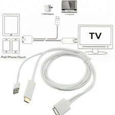 Dock to HDMI HDTV TV ADAPTER USB CABLE for Apple iPhone 4 4S iPad 2 3 iPod 4th