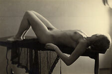 1952, STUDY of naked woman on table, short blonde hair, german, ORIGINAL photo