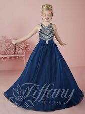 Tiffany Princess 13466 Navy Blue Stunning Girls Pageant Gown Dress sz 10