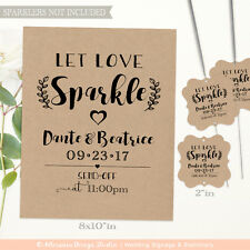 100 Let Love Sparkle Tags & Sign | Personalized Sparkler Tags | Craft Paper