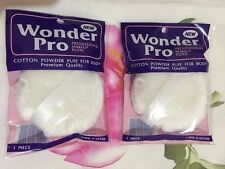 "Lot 2 Wonder Pro Powder Puff For Body  With Ribbon Handle,3.5"", Brand New,"