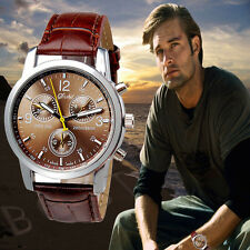 Fashion Mens Leather Watch Crocodile Stainless Steel Quartz Analog Watches Nice
