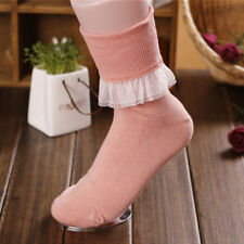 Lolita Japan Thick Warm Sweet Ballerina Lace Trim Ankle Socks