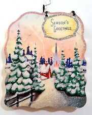 SNOWY VILLAGE, CHURCH, PINK SKY, GREETINGS* Glitter CHRISTMAS ORNAMENT * Vtg Img