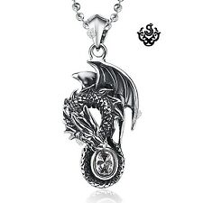Silver pendant vintage style stainless steel dragon swarovski crystal necklace