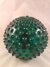 Vintage Round Emerald Green Spiked Glass Lamp Shade Mantle Art