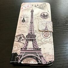For iPhone 7 - Paris Eiffel Tower Leather Credit Card ID Wallet Pouch Case Cover