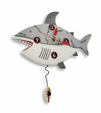 Allen Designs Surf at Risk Shark Pendulum Childs Kids Whimsical Wall Clock