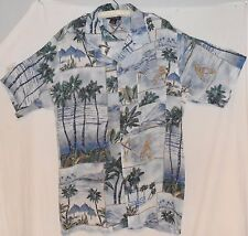 MONTAGE COLLECTION Hawaiian Camp Shirt Large 50 Chest Blue Palm Tree Surf Board