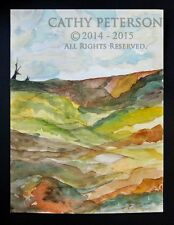 2 Old Trees w Valley by C Peterson 2014 original watercolor painting LANDSCAPE