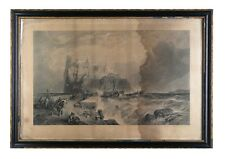 """""""The Castle of Ischia"""" Etching by Clarkson Frederick Stanfield, Framed 29x20"""""""
