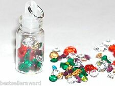 1pc Glass miniature dollhouse bottle with tiny little Mixed crystals pendant *~