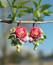 Flower EARRINGS HANDCRAFTED Fashion polymer clay pretty Bridal Wedding HANDMADE