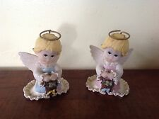 Two Vintage Enesco Morehead Holly Babes Easter Angel Figurines Collectable