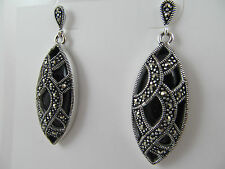 NWT SILVER & GENUINE BLACK ONYX & MARCASITE ANTIQUE DESIGN DANGLE EARRINGS
