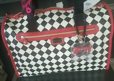 Betsey Johnson Weekender Travel Duffel Bag Harlequin Checker Black Red NWT