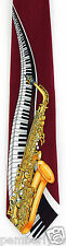 Piano & Sax Mens Necktie Music Keyboard Saxophone Musician Gift Red Tie New