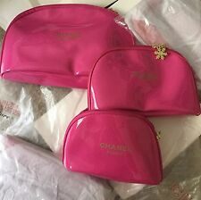 NIP USA Chanel Beaute Snowflake hot pink Cosmetic Makeup Bags SET VIP Gift