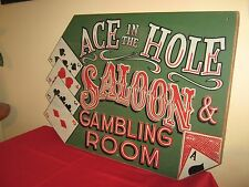 LARGE WOODEN VINTAGE GAMES ROOM,MAN CAVE,PUB,SALOON,BAR,CARD GAMES SIGN.