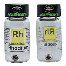 Rhodium metal element 45 Rh sample 1 gram 99,99% pellet in glass vial + label