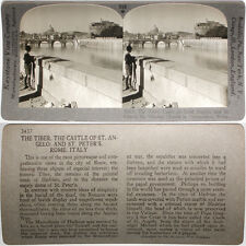 Keystone Stereoview of Tiber & St. Peter's, Rome, ITALY From RARE 1200 Card Set