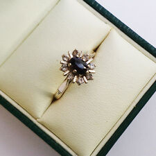 9ct Gold & Sapphire Cluster Ladies Ring UK Size: M 1/2; US Size: 6 1/2