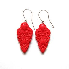 chandelier bright red long bridal bridesmaid valentines day gift idea earrings