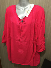 BNWT Womens Sz 22 Autograph Brand Cheesecloth Peasant Berry Tunic Top RRP $50