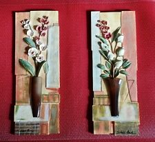 Silvia Vassileva 3D Wall Plaque Set of 2 ▪ FLOWERS IN VASE Home Decor