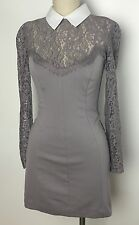 Lover The Label Long Sleeve Lace Collared Purple Bodycon Short Dress 4 Small