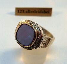 Großer Siegelring 585 Gold Lagenstein Ring Herrenring Herrenschmuck / AV 730
