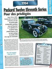 Packard Twelve Eleventh Series  1934  USA  Car Auto FICHE FRANCE