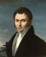 Oil portrait of gentleman bust-length in a black coat and white shirt landscape