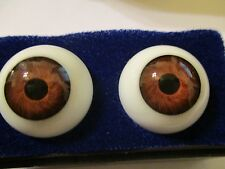 22 mm Vintage Brown Glasaugen Glass Eyes 13.5 mm Iris W. Germany Doll Mannequin
