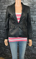 Women's Short Black Real Leather V-Neck Jacket Blazer Coat UK Size 18