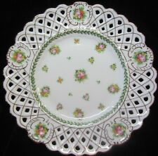 "C. Ahrenfeldt Reticulated Plate w/Roses & Gold Scalloped Rim 10""  Dulin & Martin"