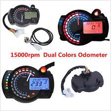 Motorcycle LCD Dual Colors LED Speedometer Tachometer Odometer Gauge 15000rpm