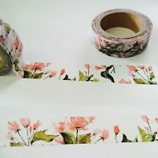 WASHI TAPE: WATERCOLOR PINK FLOWER WASHI TAPE- NEW