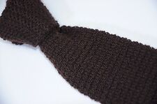 Vintage Rooster Roosternit Mohair Wool Chocolate Brown Crunchy Knit Square Tie 3