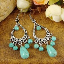 New Charm Tibet Silver Nepal Chic Vintage Turquoise Beads Dangle Earrings