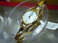 Ladies Seiko Solar 28mm NEW Gold Bangled Crystal MOP Watch SUP216