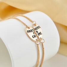 """2 Part """"Partners in Crime"""" Best Friends BFF Gold Heart Chain Charm Bracelet Gift"""