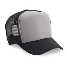 Wholesale Lot 1 Dozen / 12 Blank Foam Adjustable Trucker Hats Grey/Black