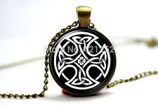 Glass Dome Cabochon Pendant Necklace Charm GOTHIC/ STEAMPUNK Celtic Cross