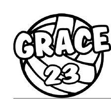Personalized School Team Sports Window Decal Volleyball