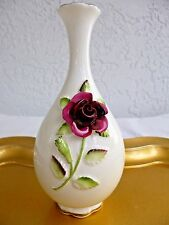 Ltd. Ed. ENGLISH COALPORT BONE CHINA BUD VASE 3-D ROSES; #798 / 5,000; RARE 6.5""