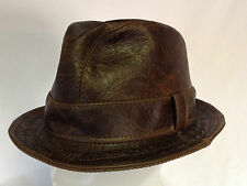 Jill Corbett Fedora 'Snatch' hat cracked  brown  leather handmade  S/M/L/XL