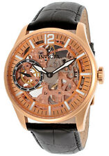 Invicta 12407 Vintage Mechanical Rose Gold Skeleton Dial Leather Band Mens Watch