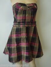 BWNT NEW RED HERRING Limited Edition Checked Strapless Dress UK 10 EU 38