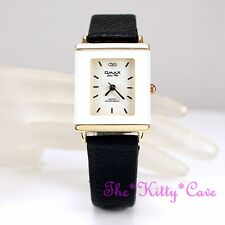 Swiss OMAX Rose Gold Pl Slim Seiko Movt White Frame Mineral Leather Watch CE0041